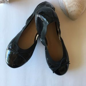 BP With Sequins Black Ballet Flats Bow Front SZ 8